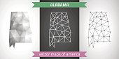 Alabama collection of vector design modern maps, gray and black and silver dot outline mosaic 3d map