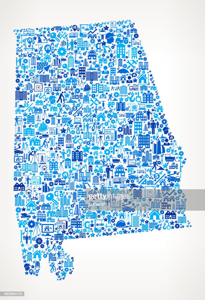 Alabama Construction Industry Vector Icon Pattern : stock illustration