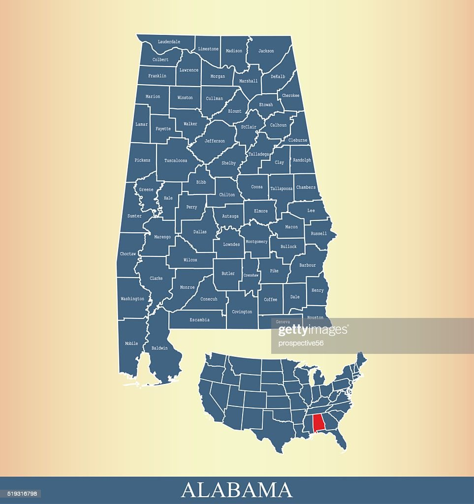 Alabama county map outline vector illustration in creative design