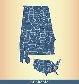 Alabama county map outline vector illustration in creative design