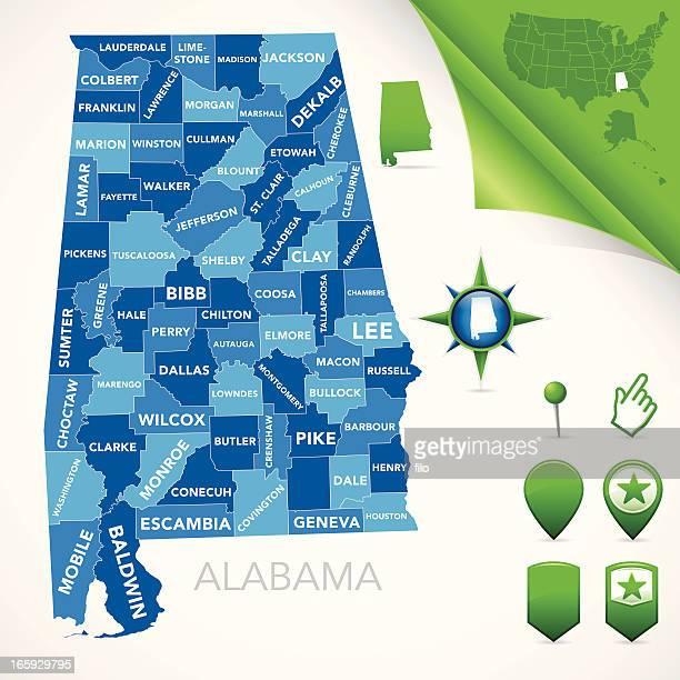 alabama county map - alabama us state stock illustrations, clip art, cartoons, & icons