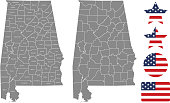 Alabama county map vector outline in gray background. Alabama state of USA map with counties names labeled and United States flag vector illustration designs