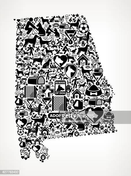 ilustrações, clipart, desenhos animados e ícones de alabama dog and canine pet black icon pattern - alabama football