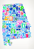 Alabama E-Learning College Education Icons Background Pattern