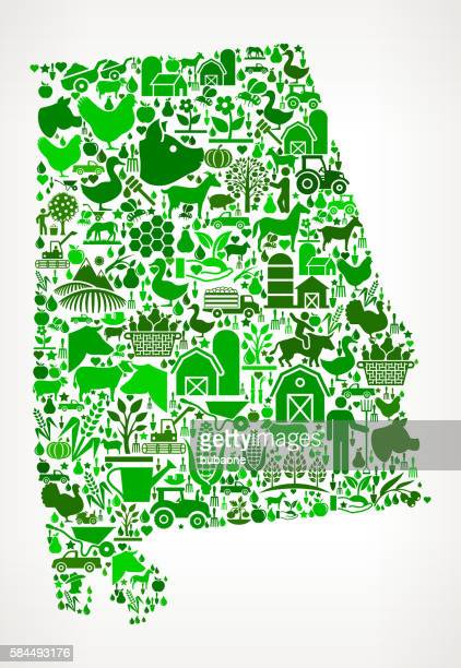 alabama farming and agriculture green icon pattern - alabama stock illustrations, clip art, cartoons, & icons