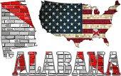Alabama flag on a brick wall with USA map