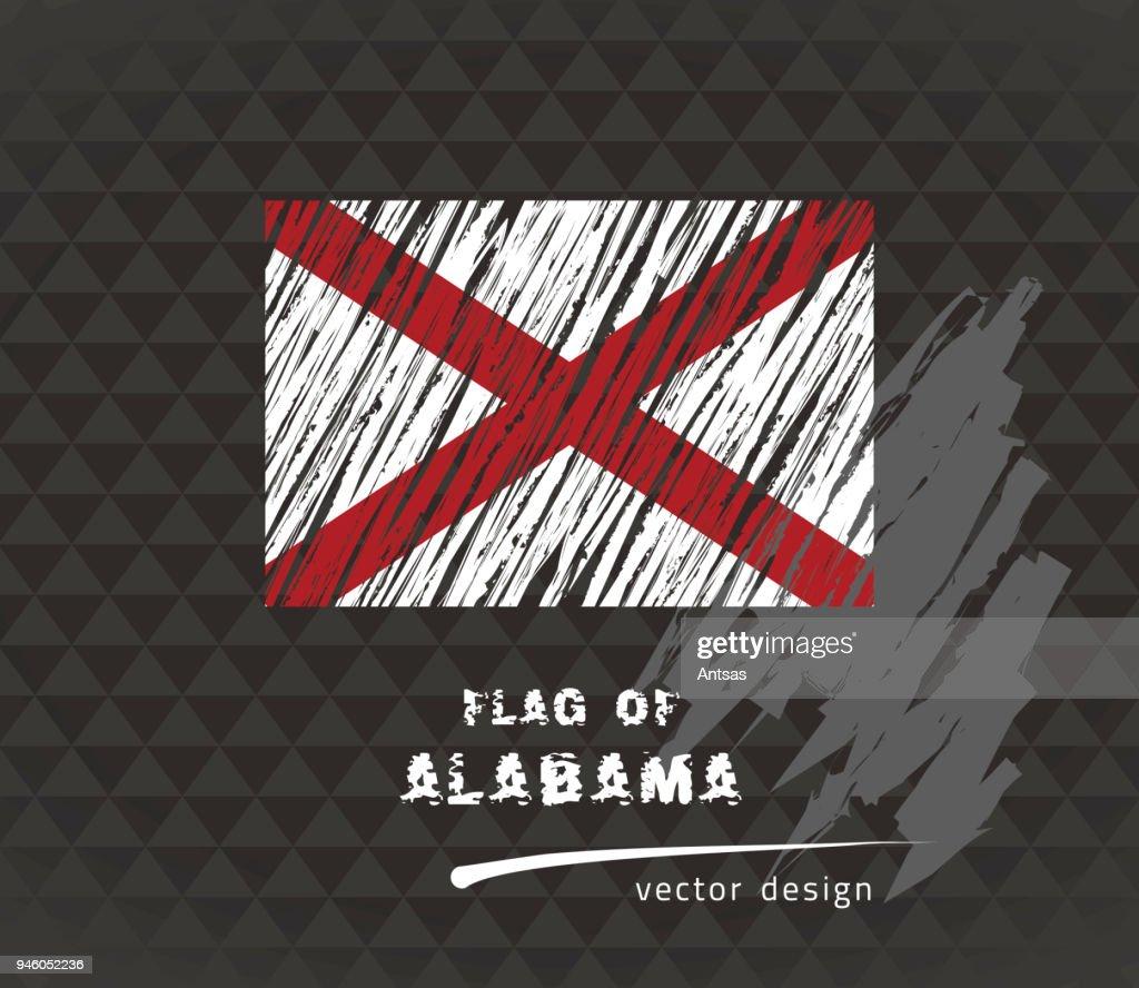 Alabama flag, vector sketch hand drawn illustration on dark grunge background