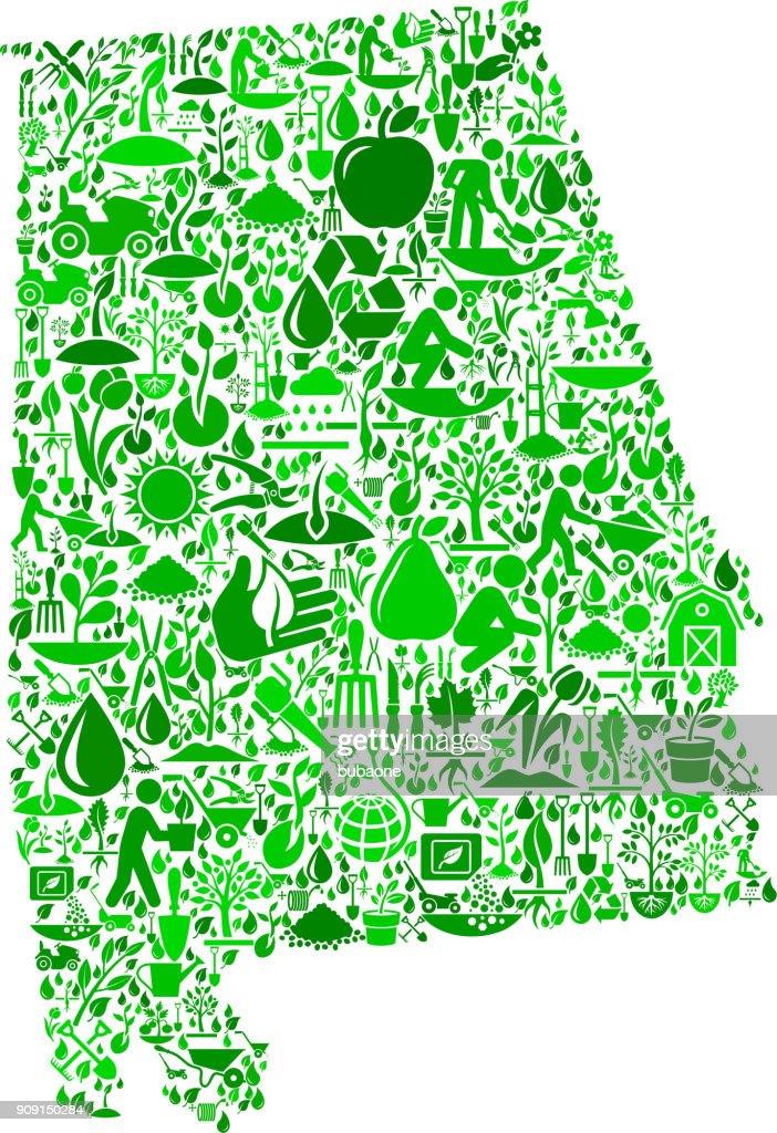 Alabama Garden and Gardening Vector Icon Pattern