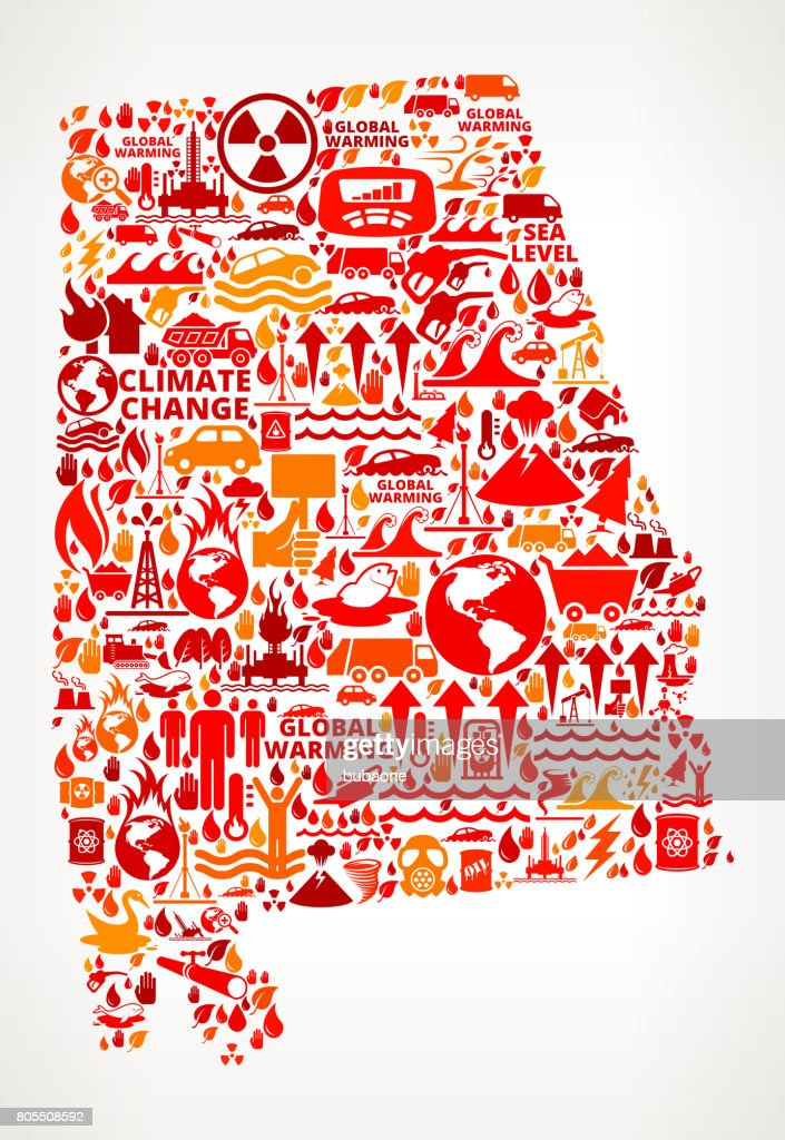 Alabama Global Warming Climate Change Vector Graphic