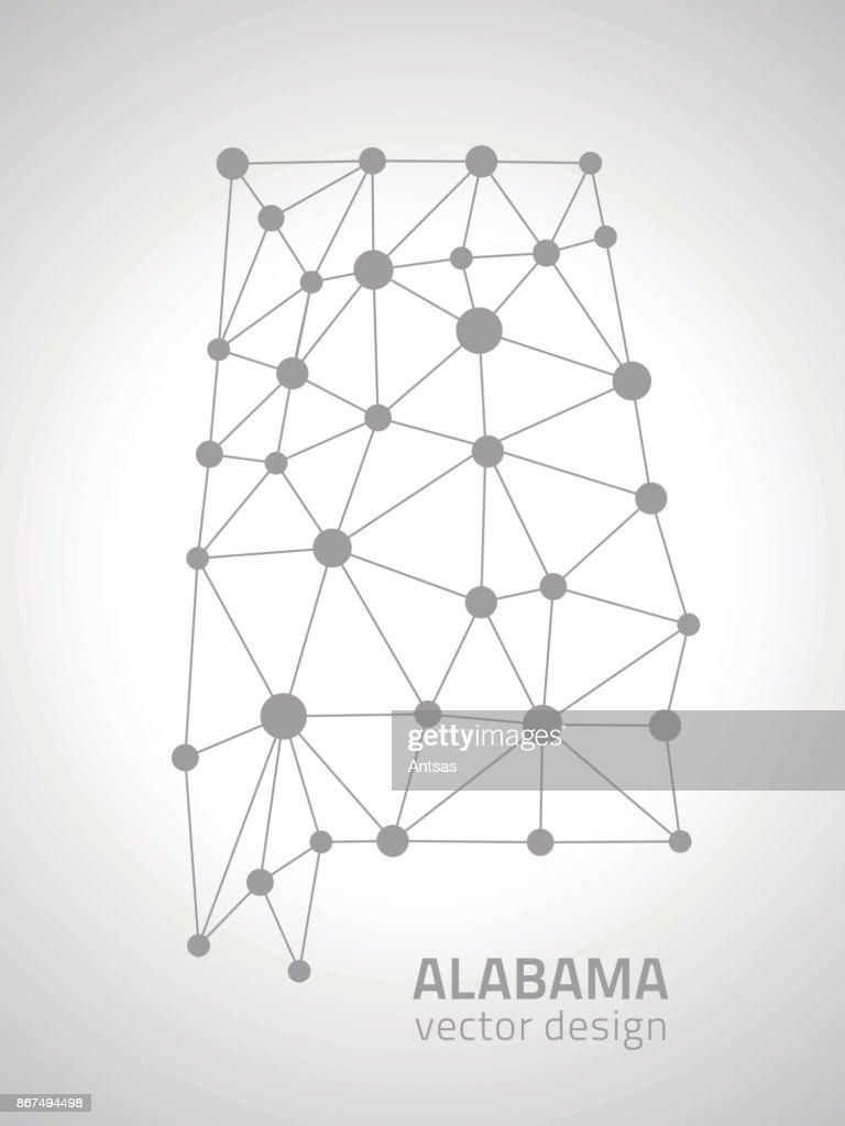 Alabama grey vector dot outline triangle map