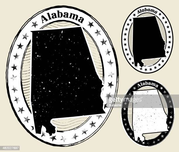 alabama grunge map black & white stamp collection - alabama stock illustrations, clip art, cartoons, & icons