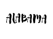 Alabama. Hand drawn US state name isolated on white background. Modern brush calligraphy for posters, for your design. Vector lettering typography