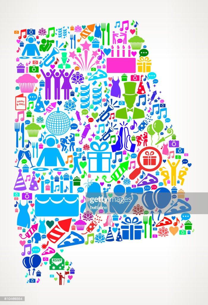 Alabama Happy Birthday Celebration Vector Icon Pattern