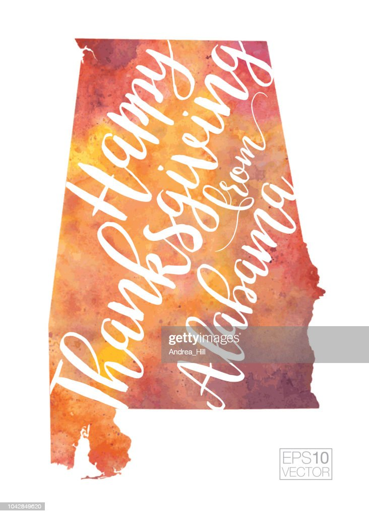 Alabama Happy Thanksgiving Fall-Colored Vector Map Illustration
