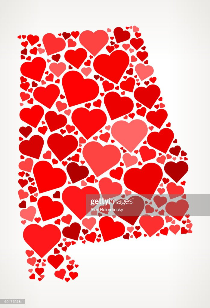 Alabama Icon with Red Hearts Love Pattern