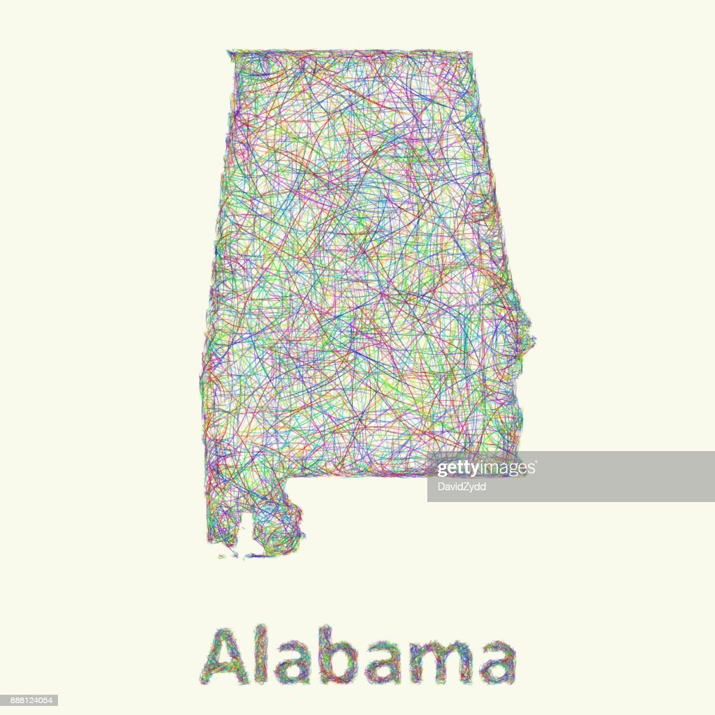 Alabama line art map