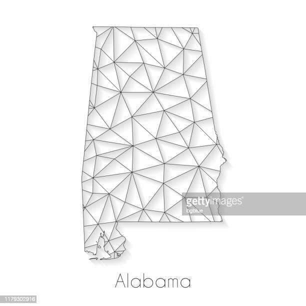 ilustrações, clipart, desenhos animados e ícones de conexão do mapa de alabama-engranzamento da rede no fundo branco - birmingham alabama