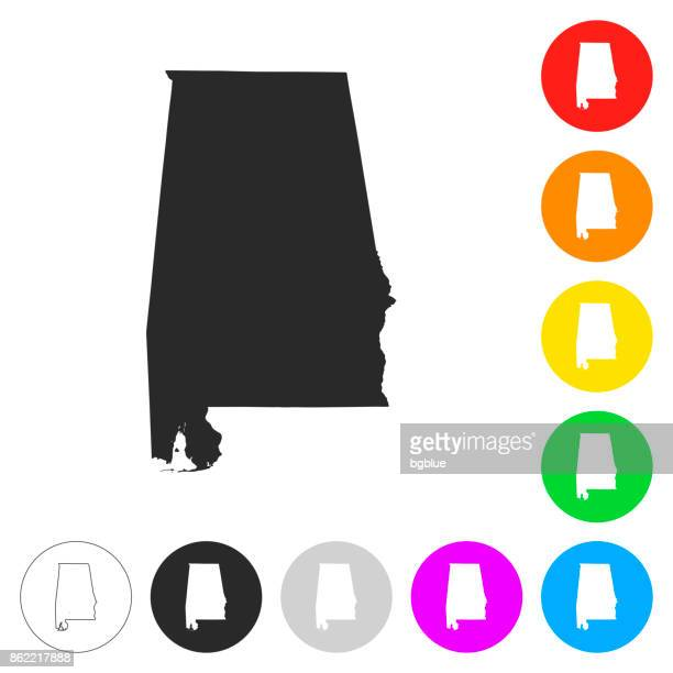 alabama map - flat icons on different color buttons - alabama stock illustrations, clip art, cartoons, & icons