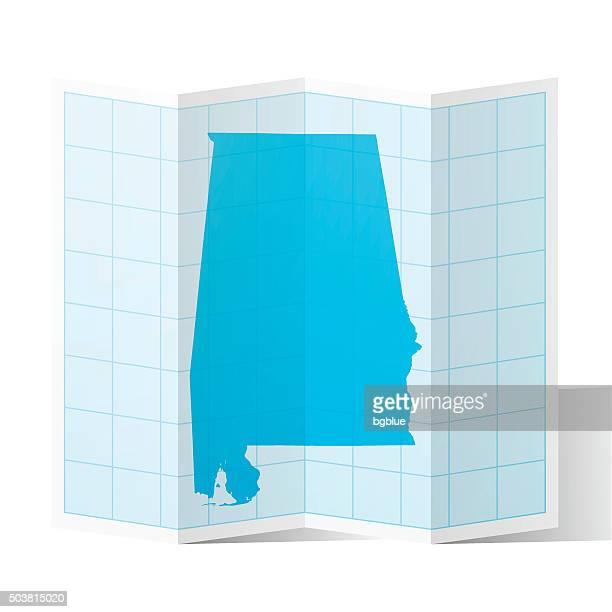 alabama map folded, isolated on white background - birmingham alabama stock illustrations, clip art, cartoons, & icons
