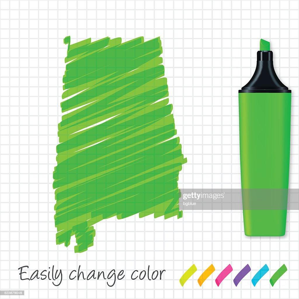 Alabama map hand drawn on grid paper, green highlighter : stock illustration