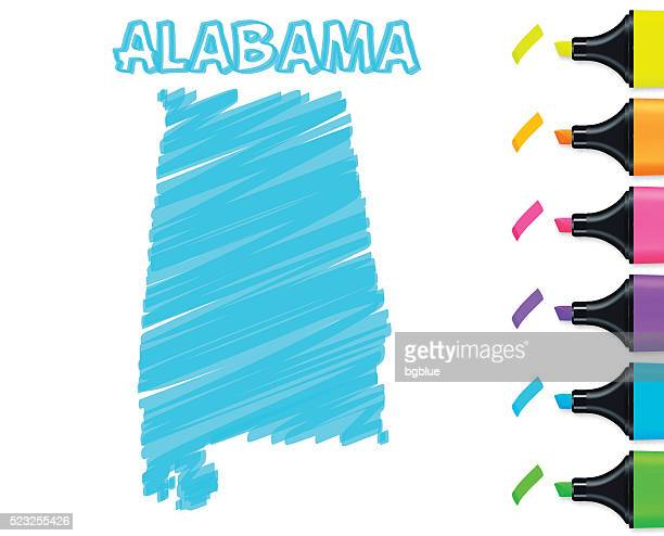 alabama map hand drawn on white background, blue highlighter - alabama us state stock illustrations, clip art, cartoons, & icons