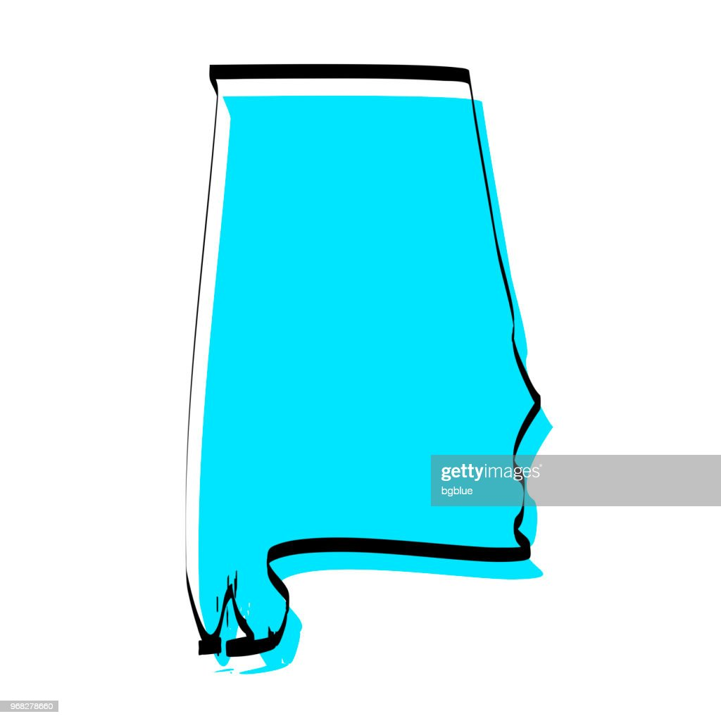Alabama map hand drawn on white background, trendy design