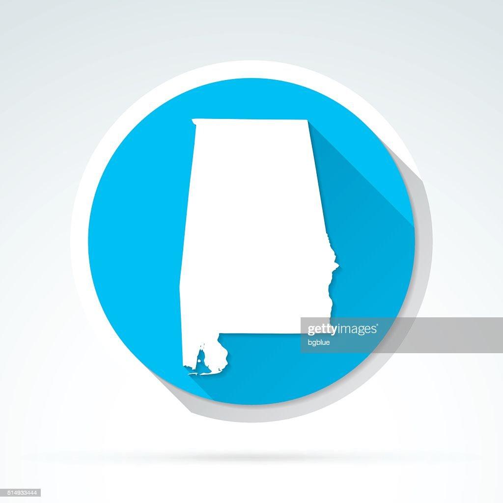 Alabama map icon, Flat Design, Long Shadow : stock illustration