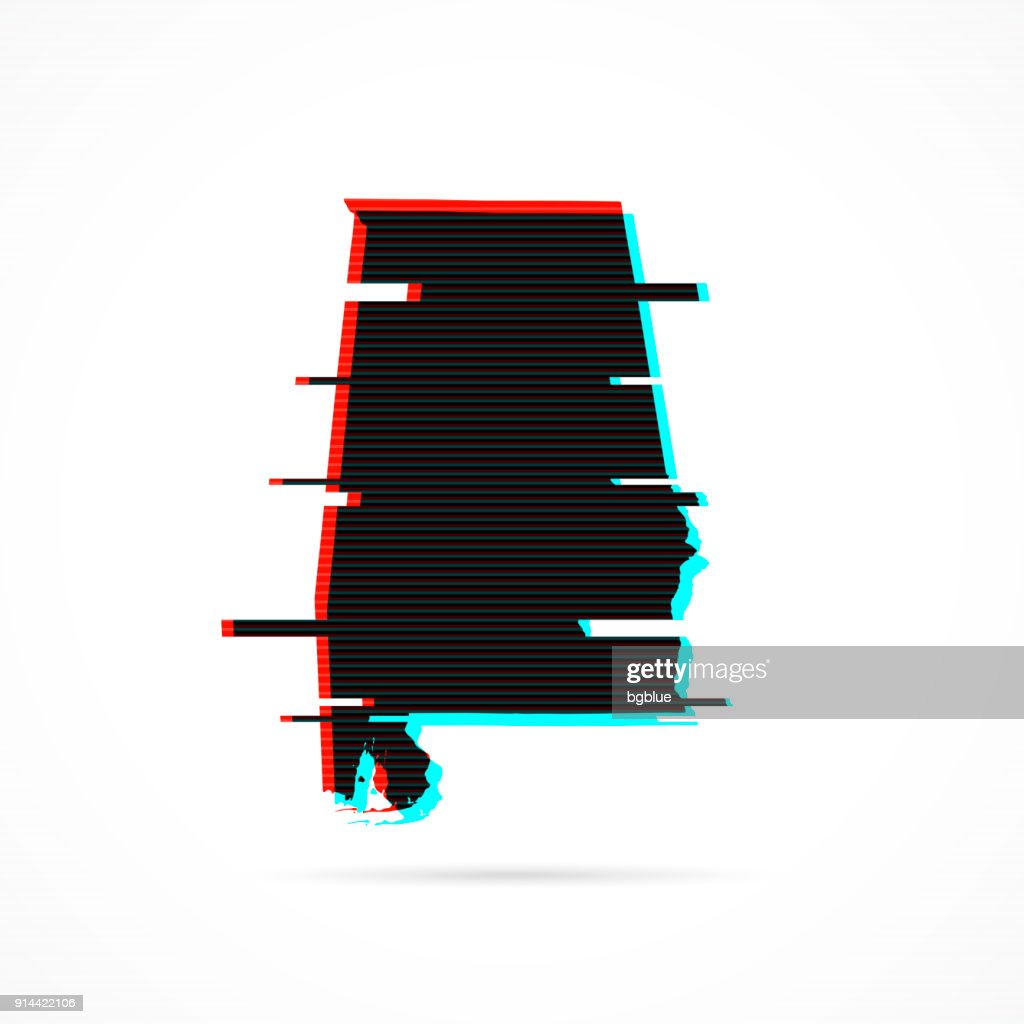 Alabama map in distorted glitch style. Modern trendy effect : stock illustration