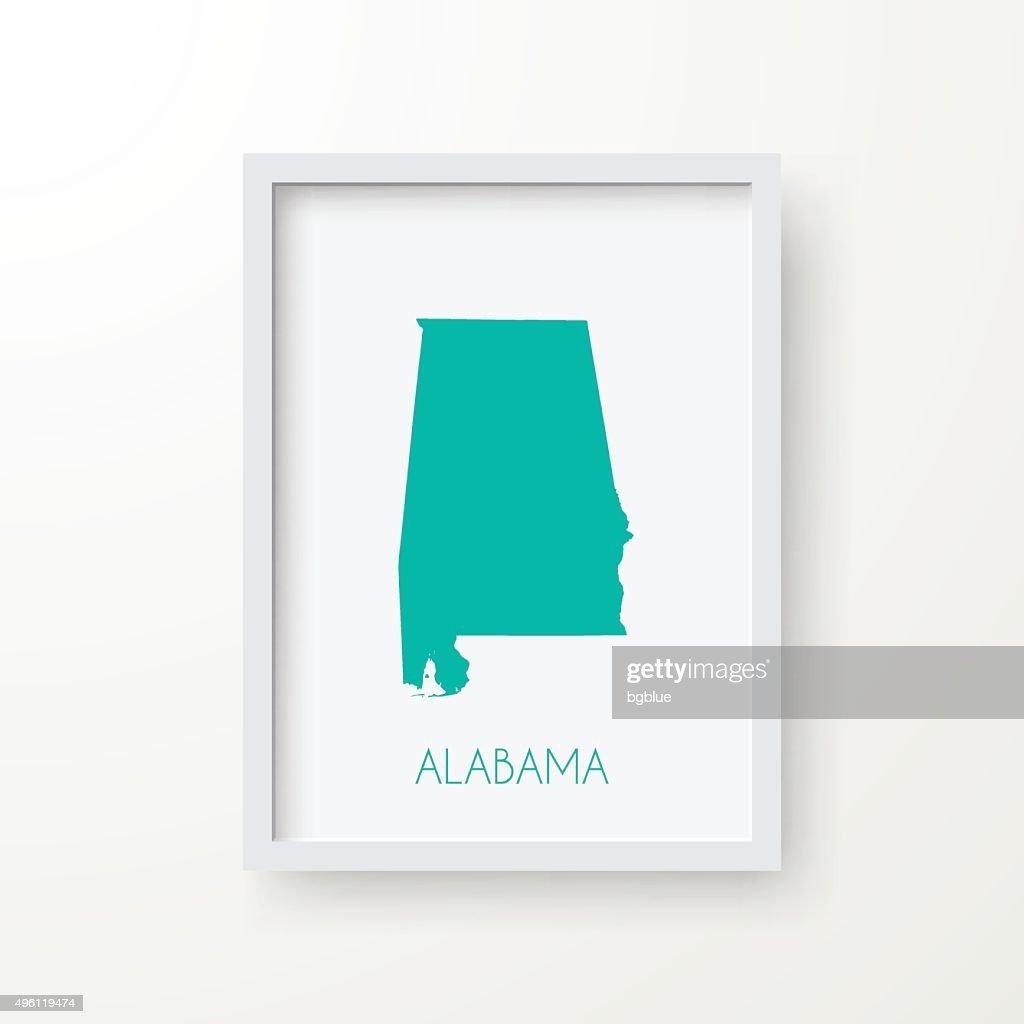 Alabama Map in Frame on White Background : stock illustration