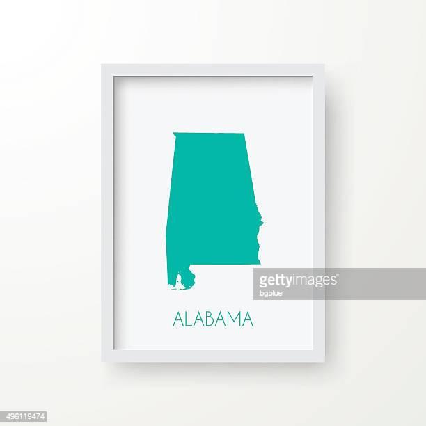alabama map in frame on white background - birmingham alabama stock illustrations, clip art, cartoons, & icons
