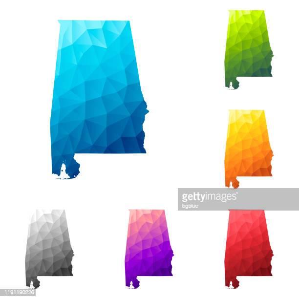 ilustrações, clipart, desenhos animados e ícones de mapa de alabama no estilo baixo da poli - projeto geométrico poligonal colorido - birmingham alabama