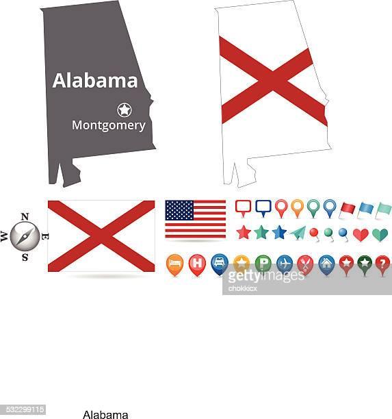alabama map kit - montgomery alabama stock illustrations, clip art, cartoons, & icons
