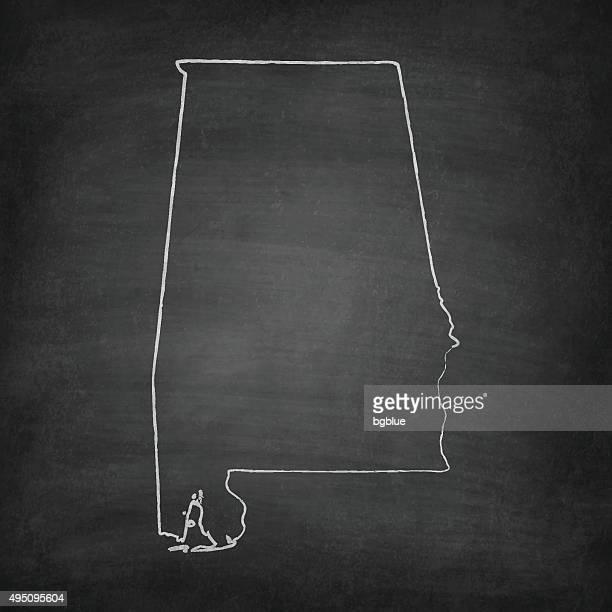 alabama map on blackboard - chalkboard - alabama us state stock illustrations, clip art, cartoons, & icons