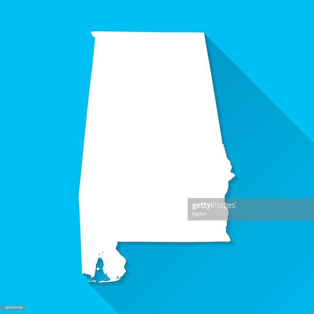 Alabama Map on Blue Background, Long Shadow, Flat Design