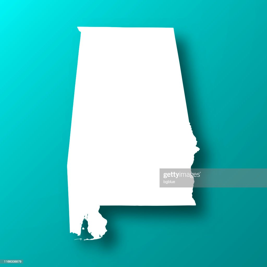 Alabama map on Blue Green background with shadow : stock illustration