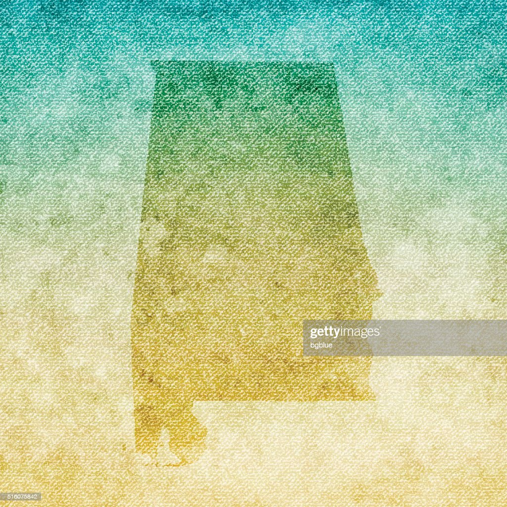 Alabama Map on grunge Canvas Background