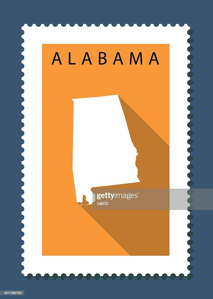 Alabama Map on Orange Background, Long Shadow, Flat Design,stamp
