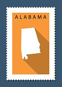 Alabama Map on Orange Background, Long Shadow, Flat Design,stamp