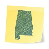 Alabama map on sticky note with scribble effect