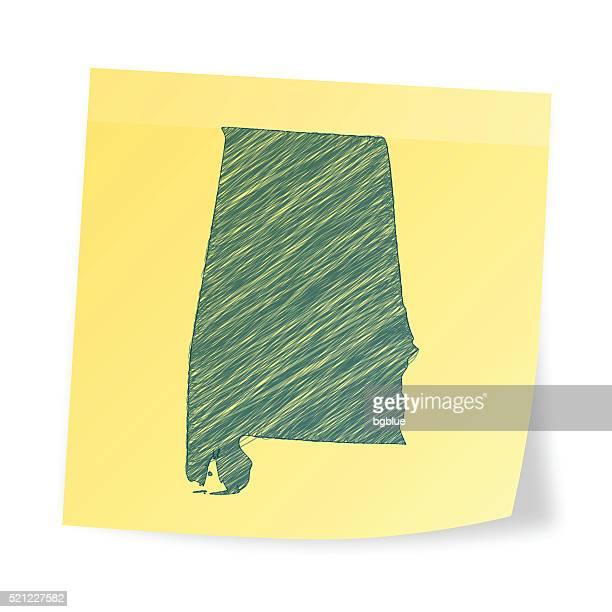 alabama map on sticky note with scribble effect - alabama stock illustrations, clip art, cartoons, & icons