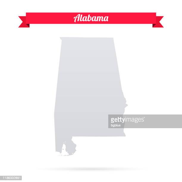 alabama map on white background with red banner - alabama stock illustrations, clip art, cartoons, & icons