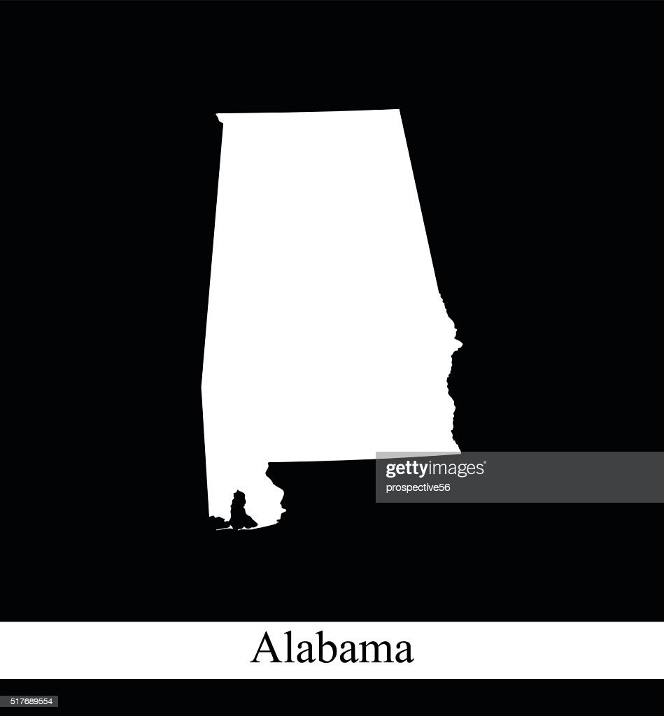 Alabama map outline vector illustration in black and white background