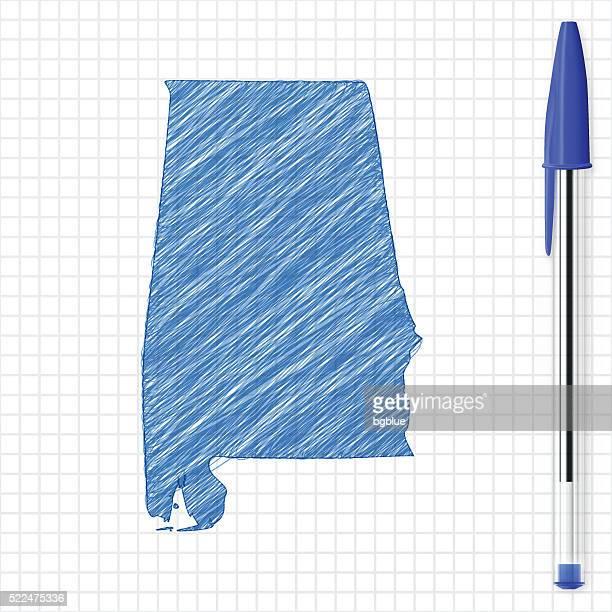 alabama map sketch on grid paper, blue pen - birmingham alabama stock illustrations, clip art, cartoons, & icons