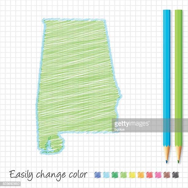 alabama map sketch with color pencils, on grid paper - birmingham alabama stock illustrations, clip art, cartoons, & icons