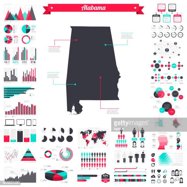 alabama map with infographic elements - big creative graphic set - alabama stock illustrations, clip art, cartoons, & icons