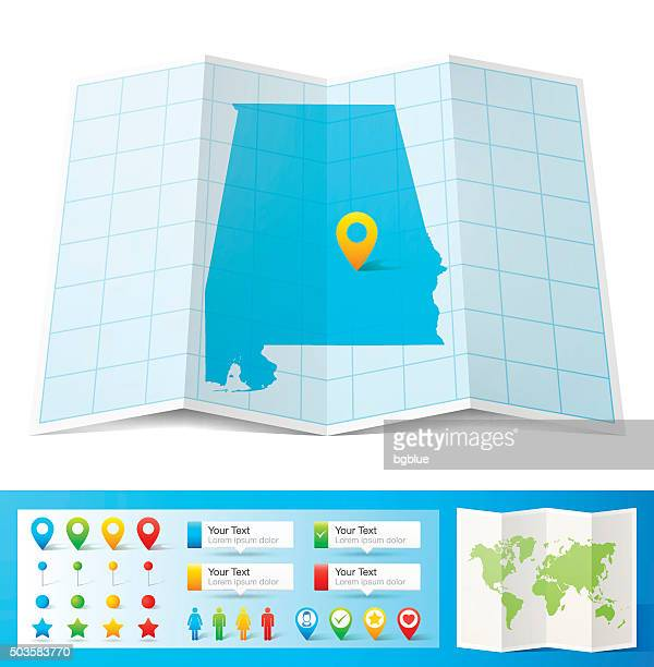 alabama map with location pins isolated on white background - birmingham alabama stock illustrations, clip art, cartoons, & icons