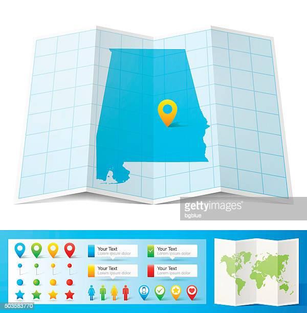 ilustrações, clipart, desenhos animados e ícones de alabama mapa com localização bótons isolado no fundo branco - birmingham alabama