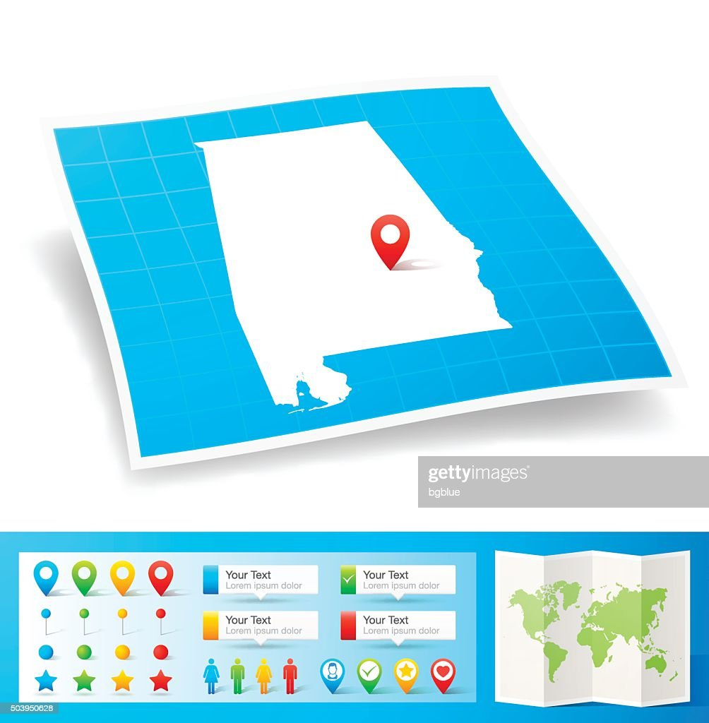 Alabama Map with location pins isolated on white Background