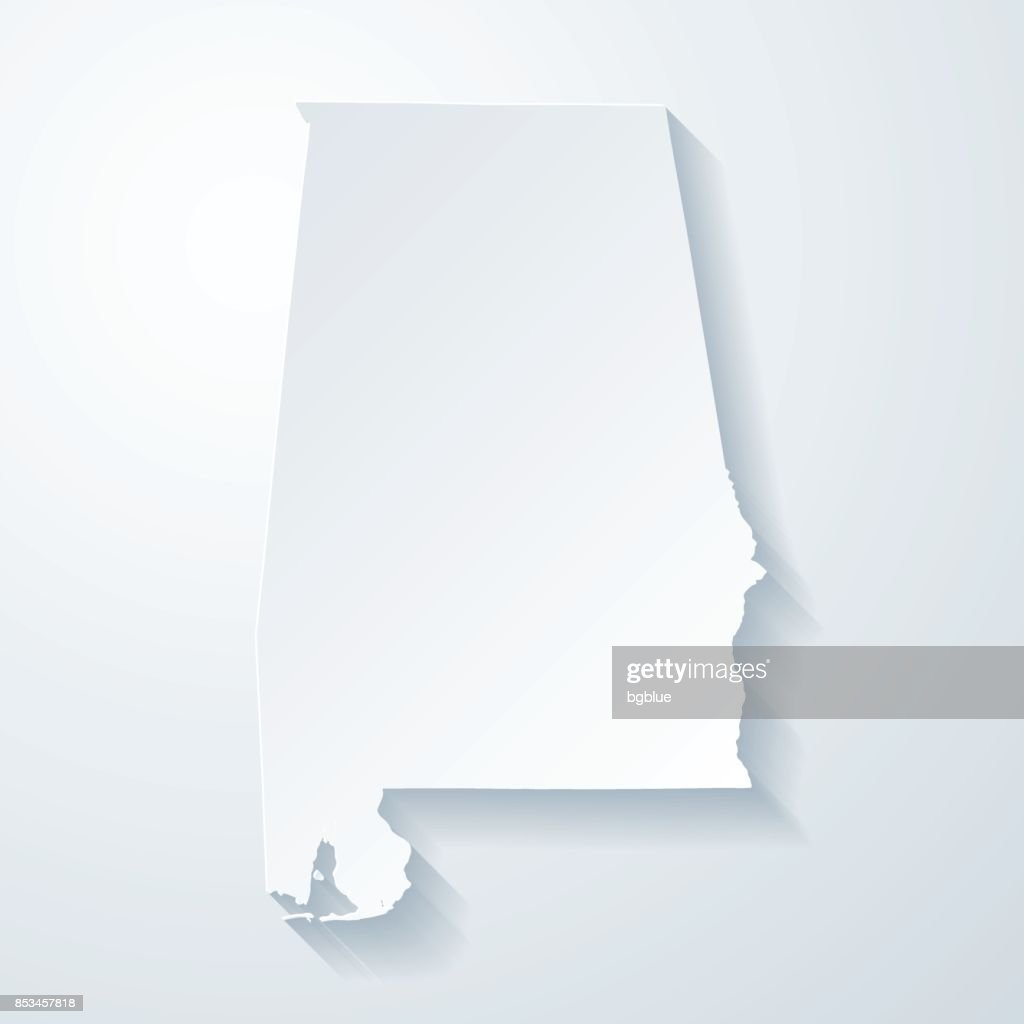 Alabama map with paper cut effect on blank background