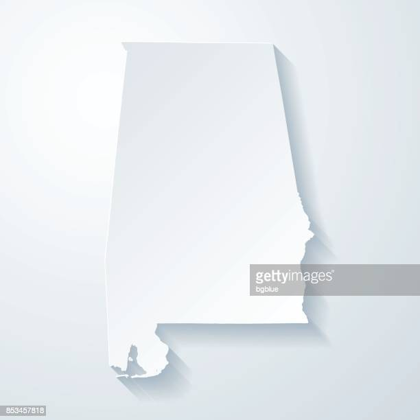 alabama map with paper cut effect on blank background - alabama stock illustrations, clip art, cartoons, & icons